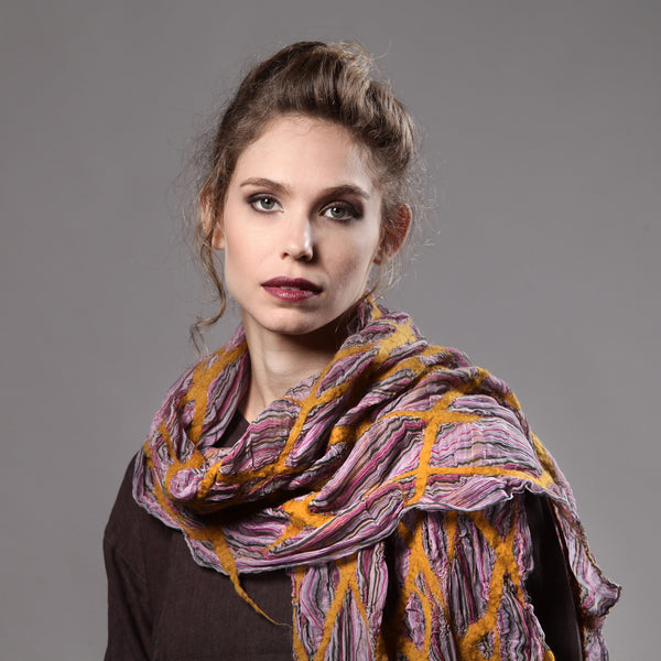 The-Yellow-Pink-Nuno-Felted-Shawl-silk-marino-wool-scarf-2016-model-packshot