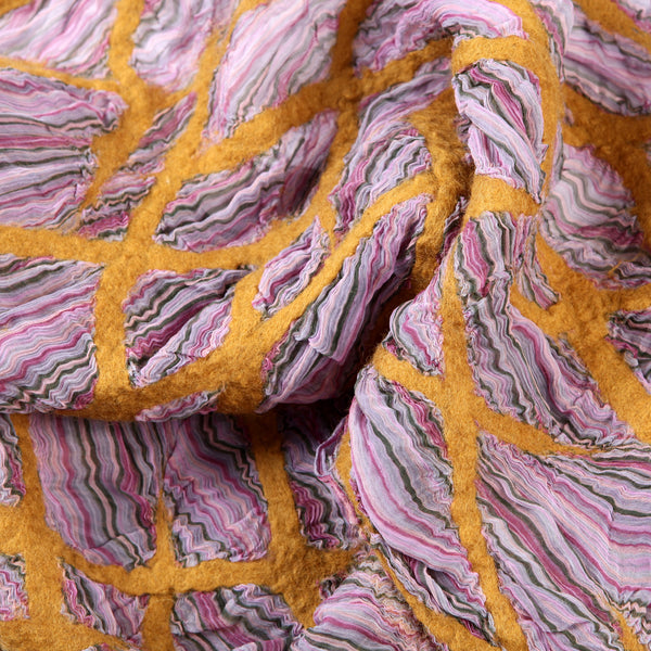 The Yellow-Pink Felted Shawl