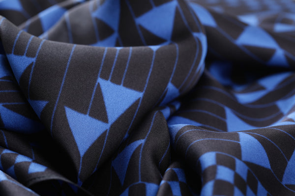 The Blue Triangles Silk Scarf