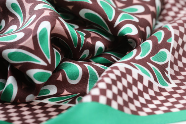 The Vienna Green Leaves Silk Scarf