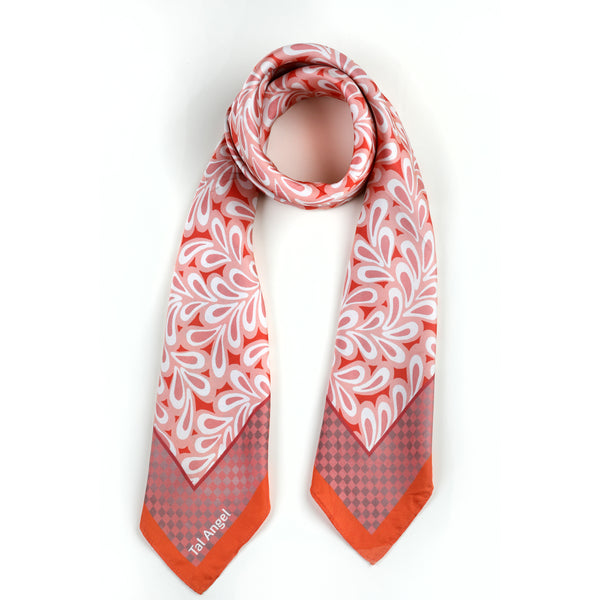The Vienna Pink Leaves Silk Scarf