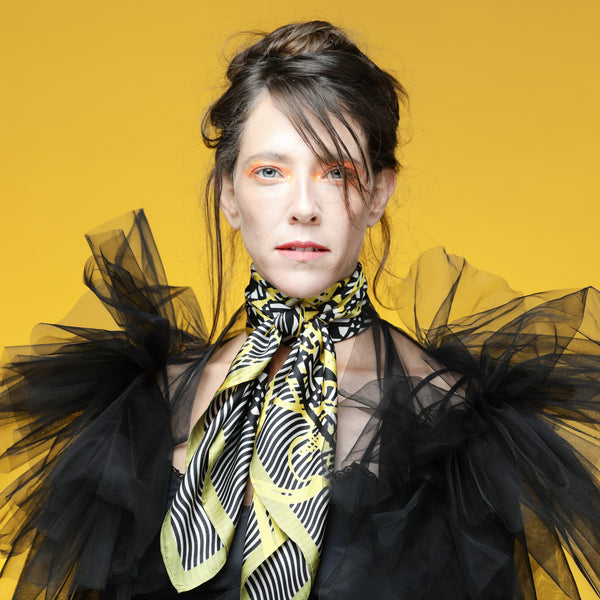 The Vienna Yellow Flower Silk Scarf