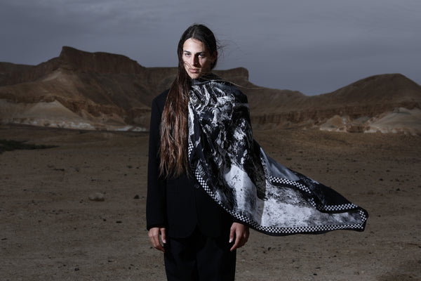 The Way to the High Mountain Silk Scarf by Tal Angel #2 - editorial
