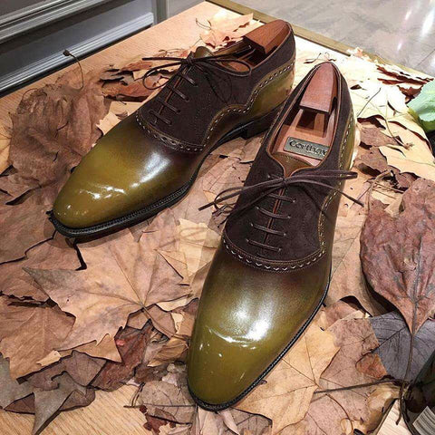 Wilfrid - Olive Calf Patina / Brown Suede