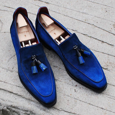 Brighton Tassel - Blue Suede Patina