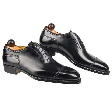 Italian V-Cap Oxford - Black Calf