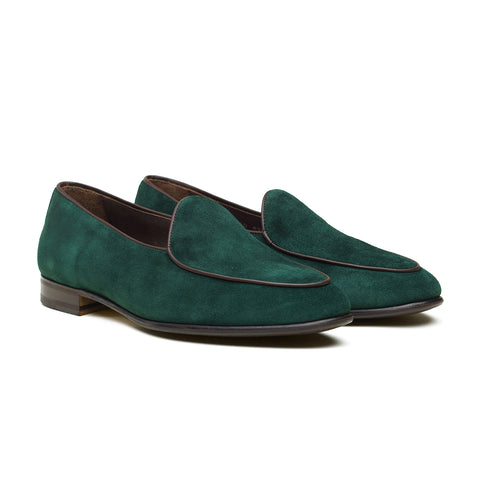 4950 Belgian Loafer - Green Night Repello Suede