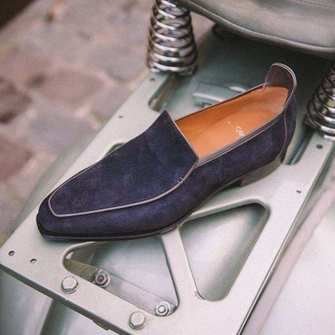 Brighton - Navy Blue Suede