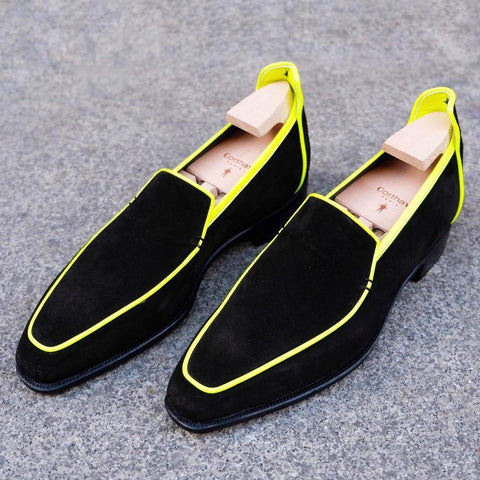 Brighton - Black Suede / Neon Yellow Binding