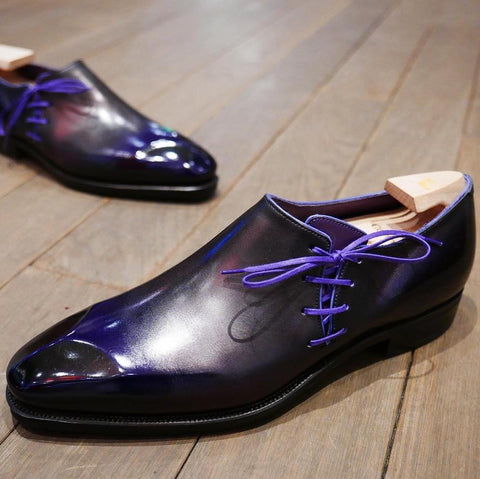 Lateral Lace - Aubergine Calf Patina