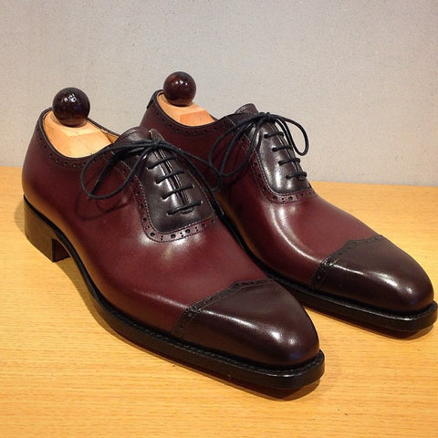 V Cap Oxford - Bordeaux Calf / Oxblood Calf