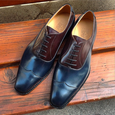 V Tip Oxford - Navy Calf / Oxblood Calf