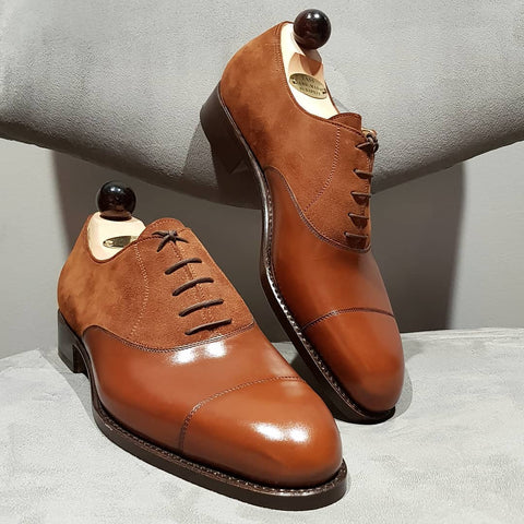 Old English Oxford - Cognac Calf / Light Brown Suede