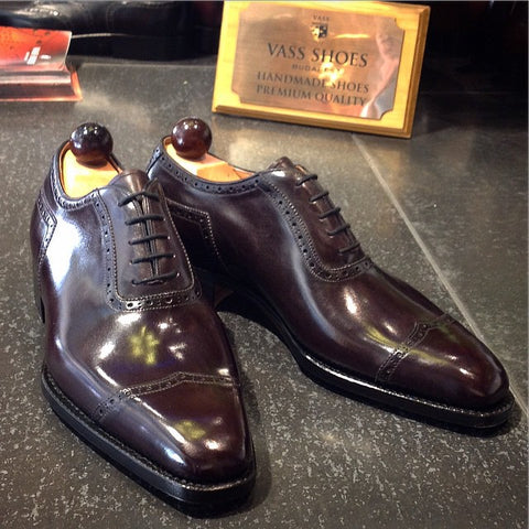 V Cap Oxford - Oxblood Calf