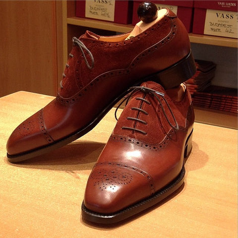 Old English II - Dark Cognac Calf / Red-Brown Suede