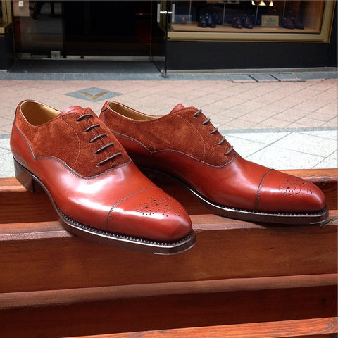 Old English Oxford - Red Cognac Calf / Red Suede