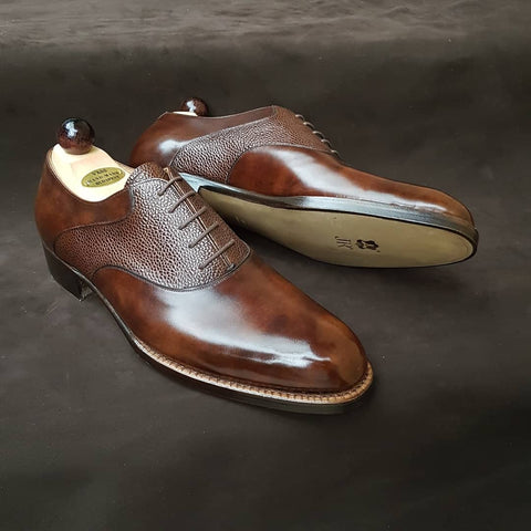 Saddle Oxford - Brown Scotchgrain / Brown Museum