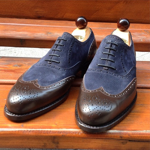 Budapest Oxford - Dark Brown Calf / Blue Suede