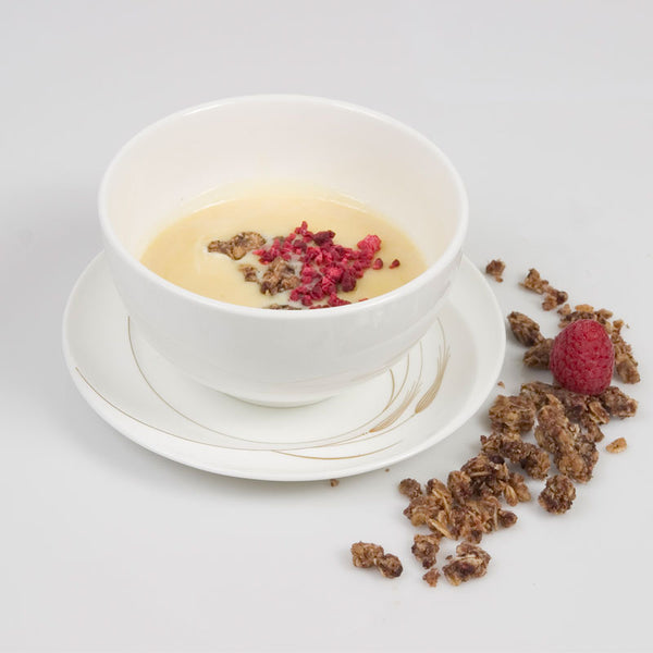 White Chocolate Soup with Raspberry Vanilla Crumble