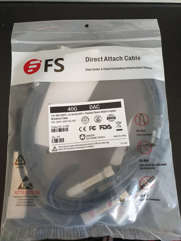 FS 1m 40G QSFP+ TO 4x10G SFP+ DAC (Sealed)
