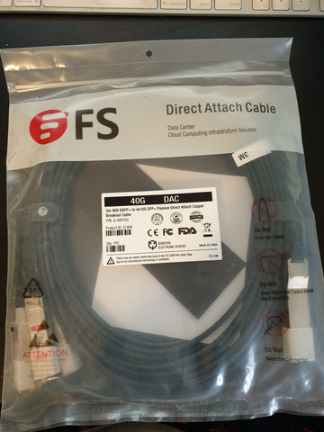 FS 3m 40G QSFP+ TO 4x10G SFP+ DAC (sealed)