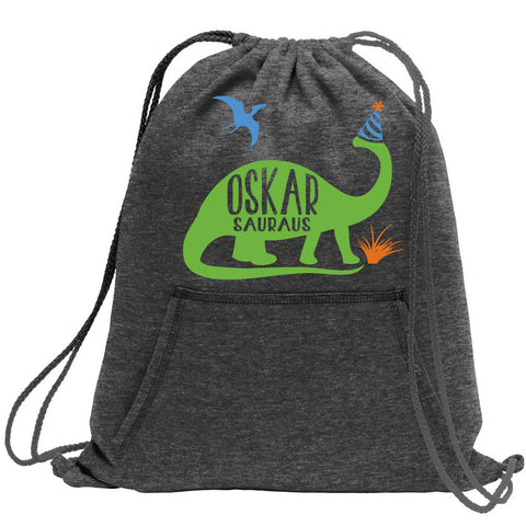Custom Name Dinosaur Cinch Bag Party Bag made from Recycled Hoodies