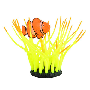 Underwater Treasures | Glow Action Bubbling Clownfish in Anemone - Yellow 628742019915 Super Cichlids