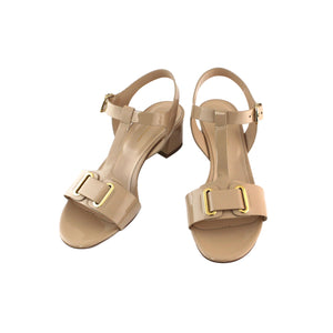 Cream patent sandal sixties styling soft leather low heel