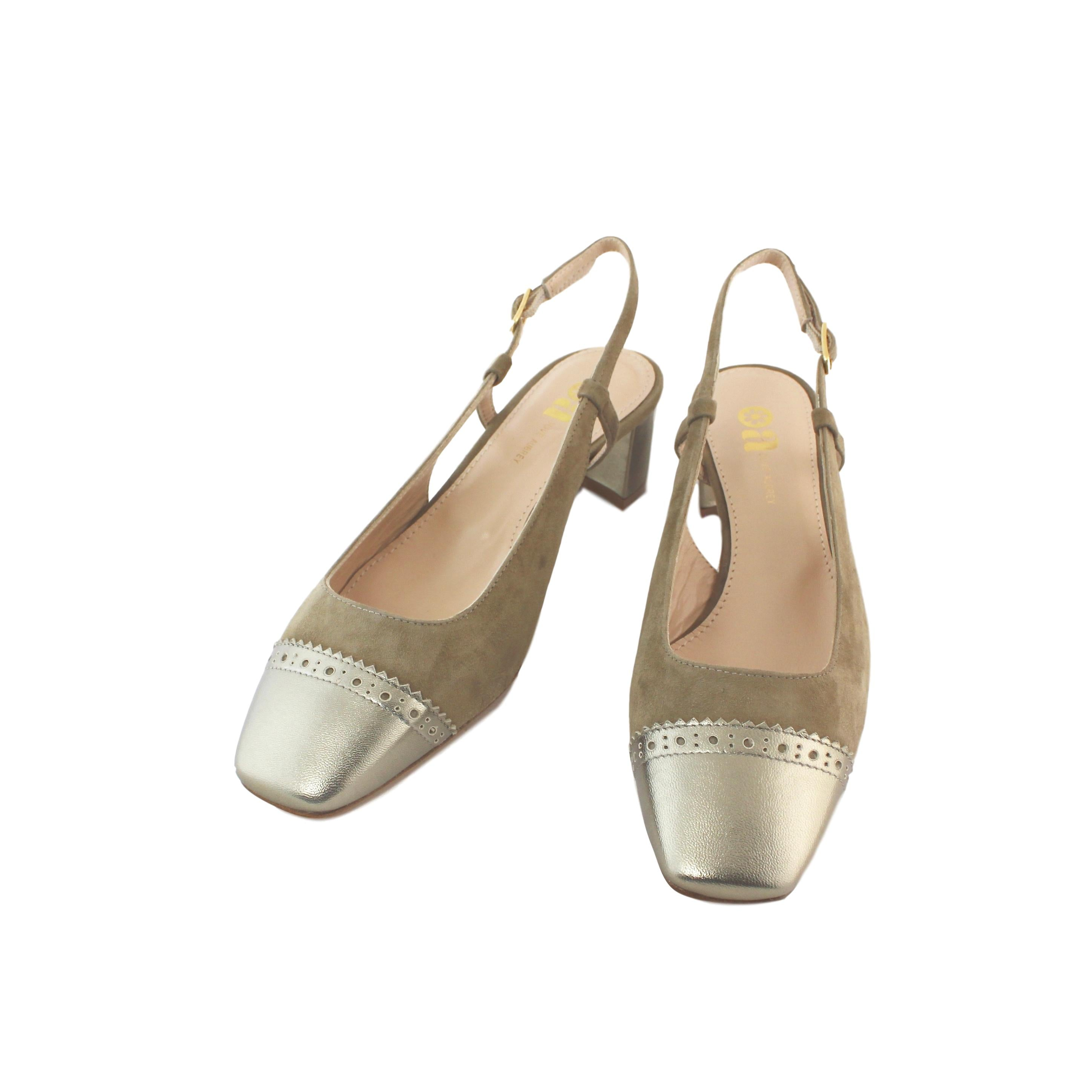 Diana Slingback - Beige Suede With Tooled Old-Gold - Olive Aubrey
