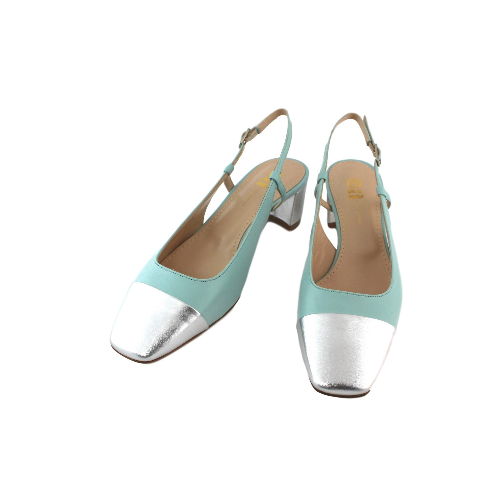 Tiffany aqua blue slingback shoe, nappa leather with silver toe and heel