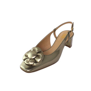Gold leather slingback shoe low heel leather square toe