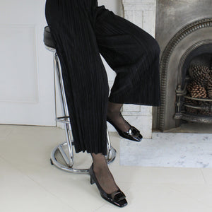 Pilgrim Court Shoe in Black Patent - Jean