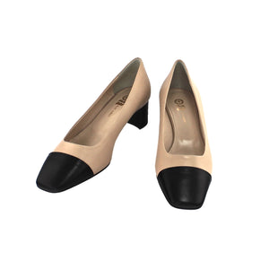 Low heel beige and black two tone court shoe nappa leather