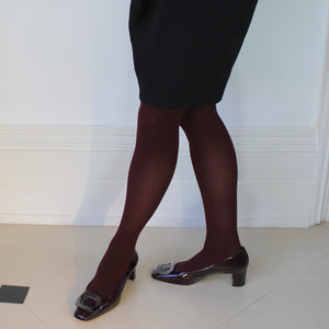 Pilgrim Court Shoe in Claret Patent - Jean