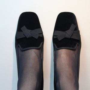 Black velvet court shoe with grosgrain trim and low block heel