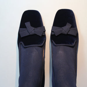 "Navy velvet court shoe with grosgrain trim and 2"" block heel"