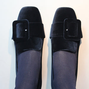 Mary Loafer - Dark Navy Velvet