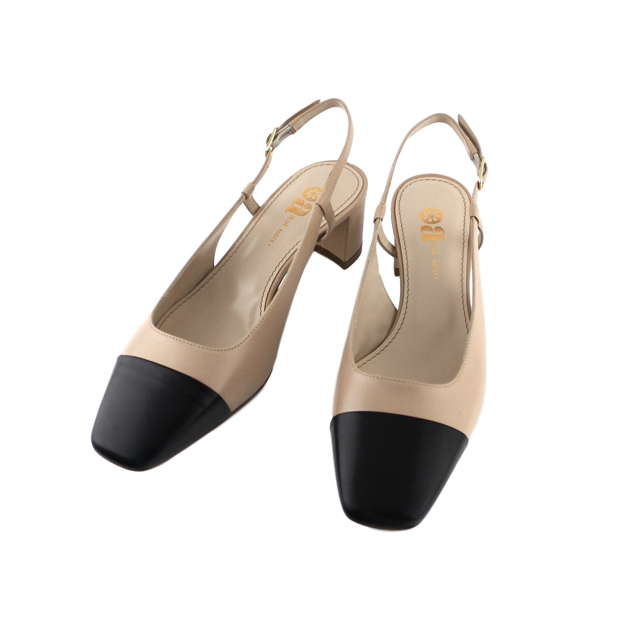 Two Tone Leather Slingback in Natural