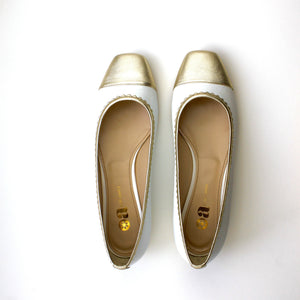 White patent pump shoe ballerina low heel gold toe