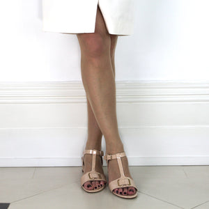 Nude Patent Leather Block Heel Sandal - Edie