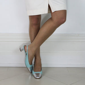 Tiffany pale blue slingback shoe low heel nappa leather silver toe