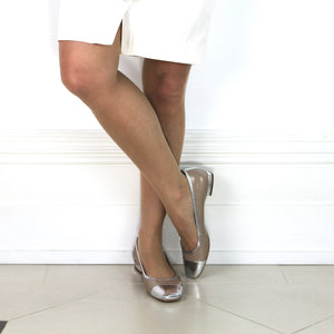 "Taupe patent leather and silver nappa leather pump with 1/2"" heel."