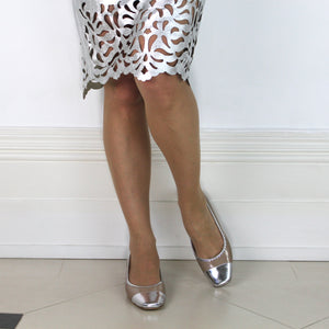 "TaupeTaupe patent leather and silver nappa leather pump with 1/2"" heel."