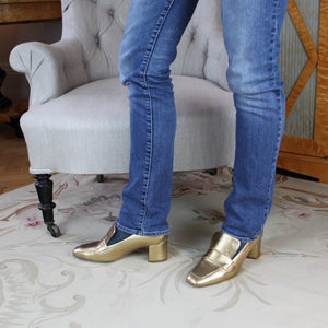 Gold loafers leather low heel