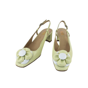 Pale green slingback patent leather shoe with flower