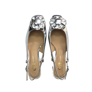 "Silver leather slingback shoe with silver napper flower and low 1 3/4"" block heel - formal or party shoe."