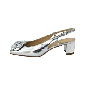 "Silver leather slingback with silver napper flower and low 1 3/4"" block heel - formal or party shoe."