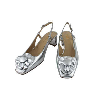 Silver leather slingback shoe low heel