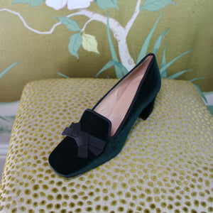 "Dark green velvet loafer-style court shoes with black grosgrain trim and 2"" block heel"