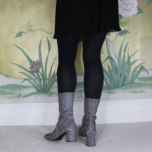 Silver ankle boot long length fitted calf